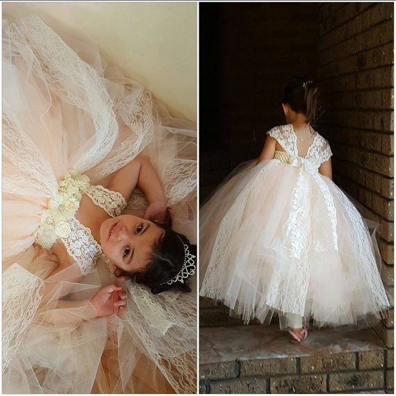 Ivory Champagne Lace Girl Dress with White Chiffon Rhinestone Flower and Lace Sleeve Straps Ankle Length Wedding Baby Girl Dress see through lace chiffon dress