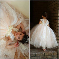 Ivory Champagne Lace Girl Dress with White Chiffon Rhinestone Flower and Lace Sleeve Straps Ankle Length Wedding Baby Girl Dress
