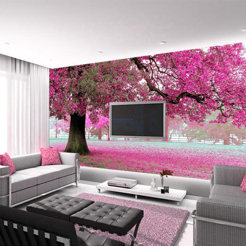 Custom Photo Wall Paper 3D Romantic Cherry Tree TV Background Home ...