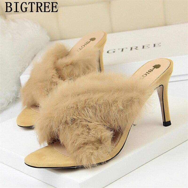 Sexy Shoes Fur Slippers Dress Shoes Women Mules High Heels Elegant Shoes Fetish High Heels Bigtree Shoes Black Heels Ayakkabi