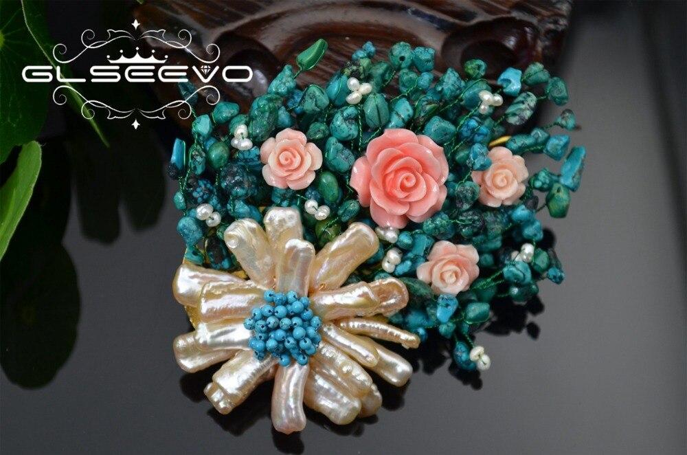 Takı ve Aksesuarları'ten Saç Takısı, Bşorları ve Vücut Takıları'de XlentAg Doğal Tatlısu Barok Inci Çiçek Broş Pin Turkuaz Kadınlar Için Çift Kullanımlı Tasarımcı Lüks Takı GO0240'da  Grup 3