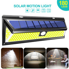 180 LED Solar Power Light COB 3 Modes Motion Sensor Outdoor Solar Wall Lamp Waterproof Energy Saving Garden Yard Security Lights