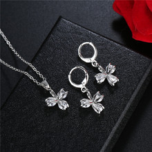 FYM Fashion 3 Colors Flower Shape Cubic Zirconia Necklace + Earrings Jewelry Sets Wedding Bridal Jewelry Set For Women Party fym fashion hollow flower shape colorful necklace rings wedding bridal jewelry sets cubic zirconia jewelry set for women party