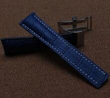 Темно-Синий Ремешки Часов 22 мм 24 мм Ремешок Для Часов крокодил зерна Смотреть браслет с серебряной застежкой развертывания белыми нитками линию одежды