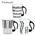Transhome Creative Ceramic Mug Coffee Cup Piano Musical Note Coffee Mugs Tea Cup Porcelain Travel Cup For Milk Mug Drinkware