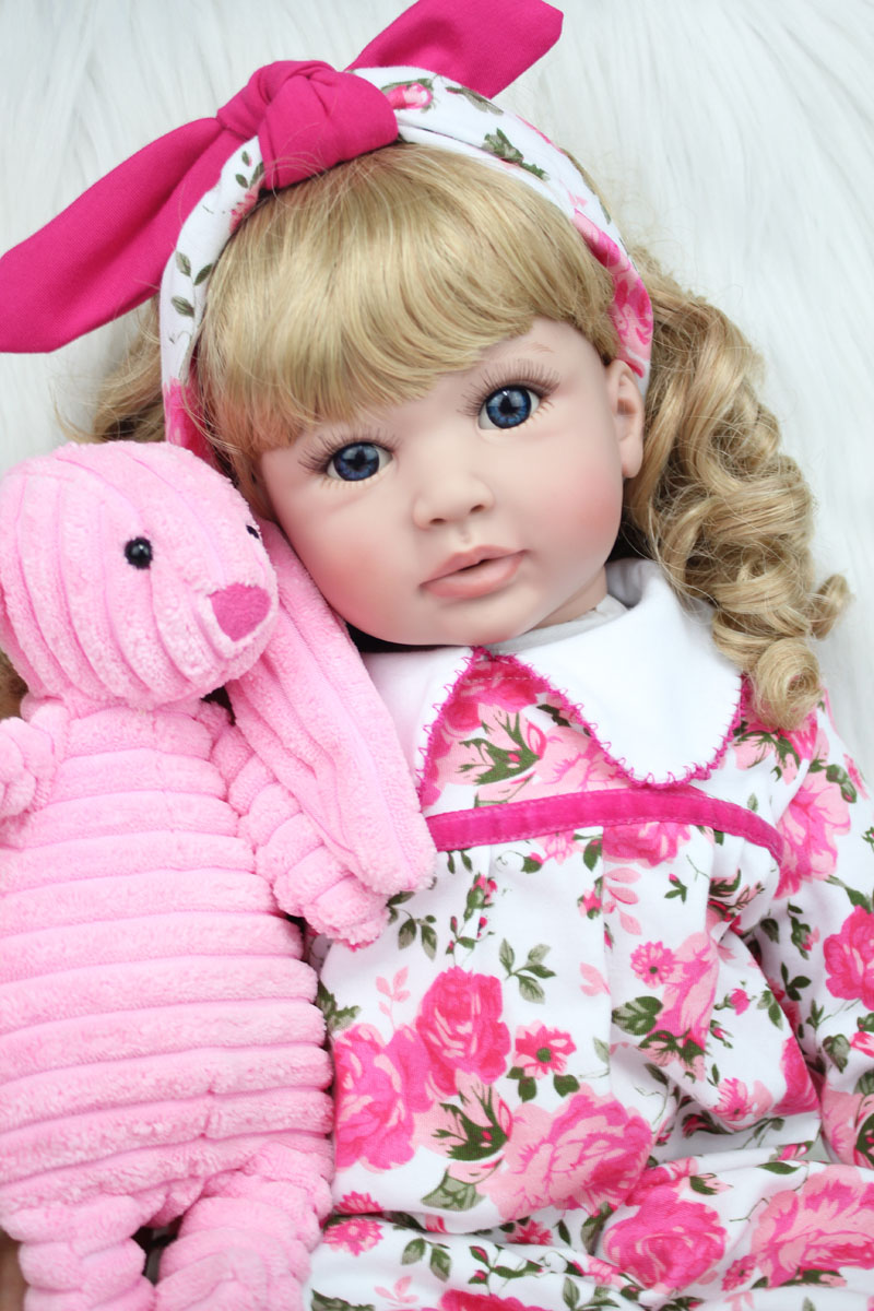 60cm Silicone Reborn Baby Doll Toys 24inch Vinyl Princess Toddler Girls Babies Dolls With Plush Rabbit Birthday Gift Play House