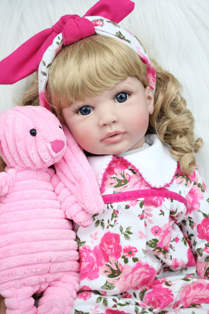 60cm Silicone Reborn Baby Doll Toys 24inch Vinyl Princess Toddler Girls Babies Dolls With Plush Rabbit