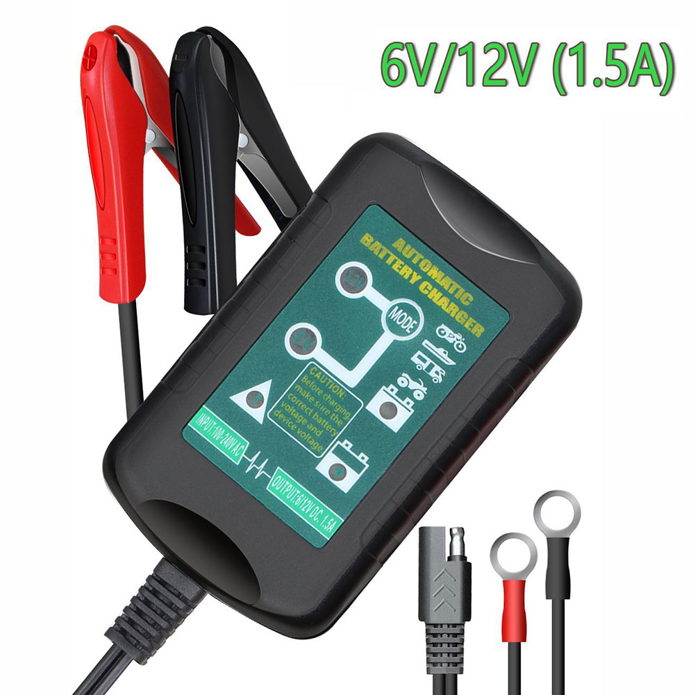 Automatic <font><b>Battery</b></font> Charger 6V/12V 1.5A 4-Stage-Charging Vehicle Charger for AGM GEL SLA VRLA <font><b>Battery</b></font> Moto Auto (US Plug)