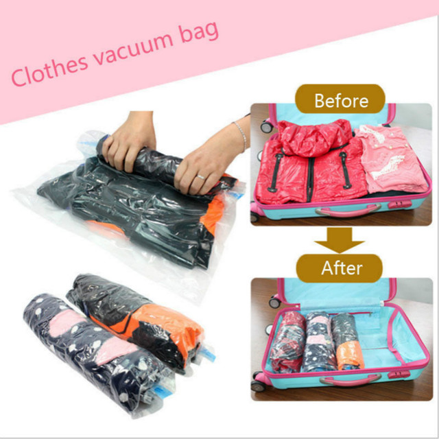 Clothes Vacuum Bags E Saver Saving Storage Seal Compressed Roll Up Travel Bag