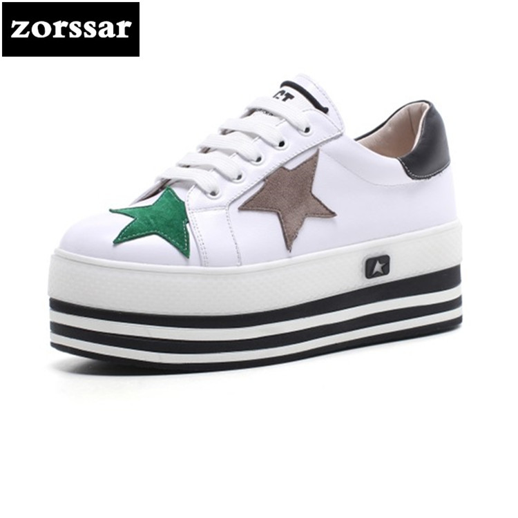 {Zorssar} 2018 Spring Autumn new style genuine cow leather fashion sneakers for women casual shoes white flats platform shoes 2017 new spring imported leather men s shoes white eather shoes breathable sneaker fashion men casual shoes