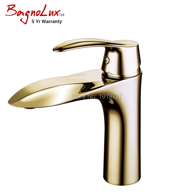 High Quality Solid Brass Unique Patented Style Single Hole Faucet Polish Gold Bathroom Small Basin Tap-Includes 5 Yr Warranty