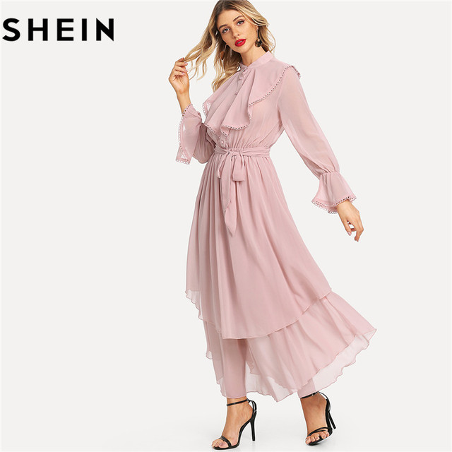 fb387636a9 SHEIN Pink Long Flared Sleeve Belted Hem Women Maxi Dresses Autumn New  Office Lady Ruffle Detail Crochet Trim Solid Flowy Dress