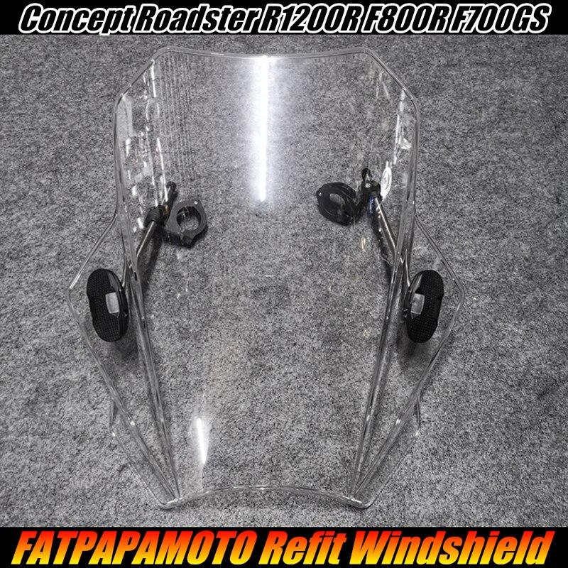 PARA BMW Conceito Roadster R1200R F800R F700GS Acessórios 22 26 28 MM Guidão Da Motocicleta Universal Windshield