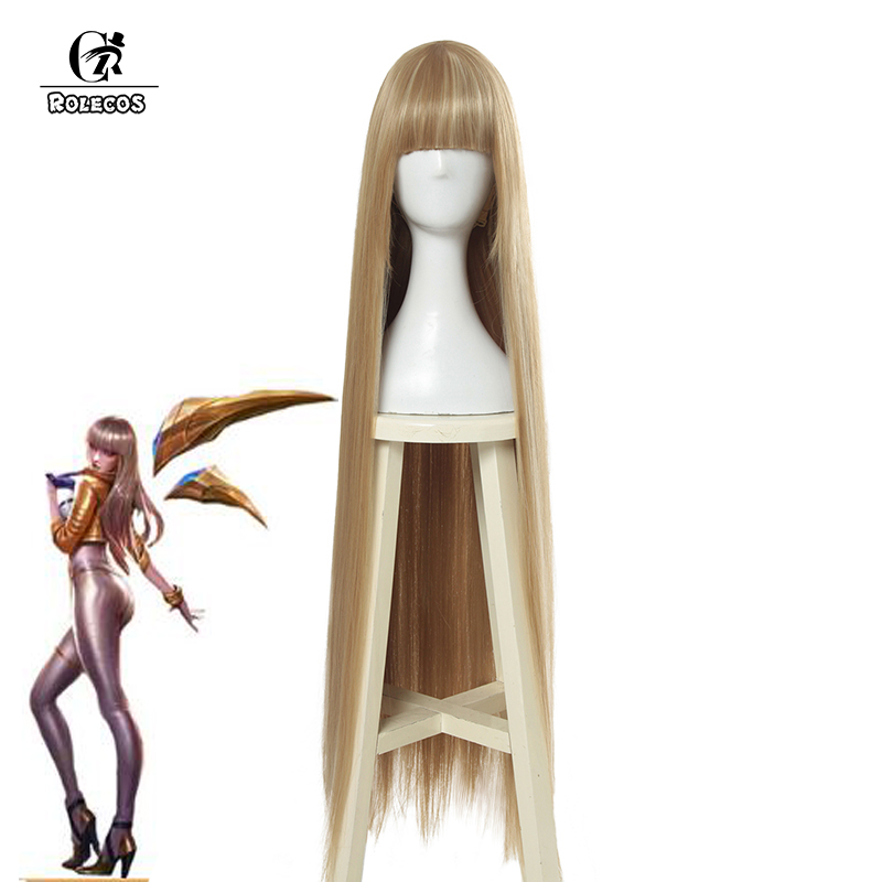 ROLECOS Game LOL Prestige Edition KDA Kaisa Cosplay Hair K/DA Kaisa Long Hair Cosplay Headwear 80cm Synthetic Hair for Women