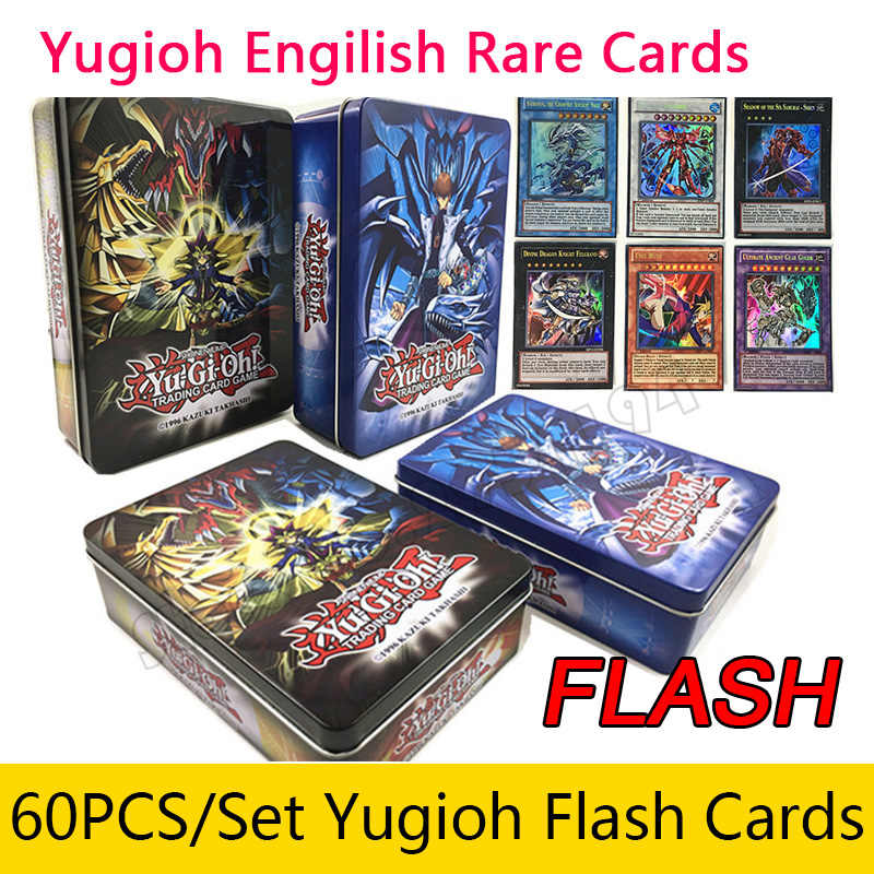 60pcsset yugioh  rare flash cards  box yu gi oh game