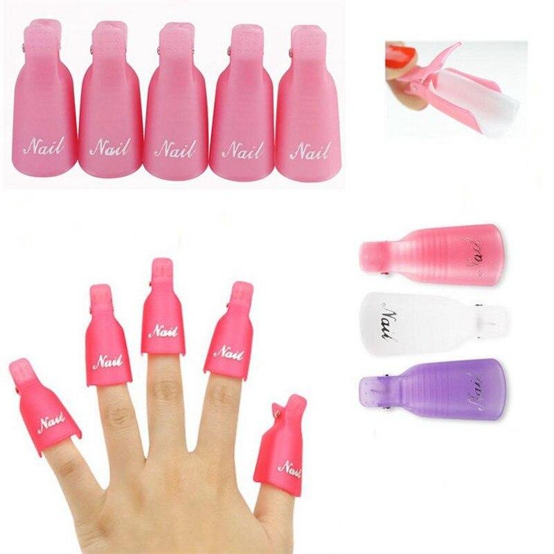 5Pcs/Set Plastic Soaker Caps 3 Colors Nail Art Soak Off Cap Clips UV Gel Polish Remover Wrap Tools Nail Polish Remover PRC01