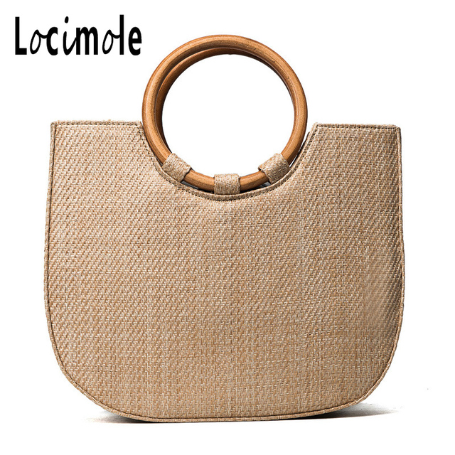Locimole 2018 Luxury Designer Beach Bag Women Travel Straw Tote Bag Travel Women  Designer Shoulder Bag bab8caa3a56c9