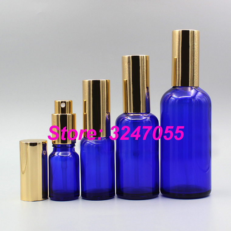 5/10/15/20/30/50/100ml Cosmetic Toner Fine Mist Bottle, Portable Blue Cosmetic Spray Bottle with Gold Cap, Perfume Atomizer Vial парфюмерные наборы trussardi туалетная вода my scent edt 50 ml natural spray blue land vial 1 5 ml
