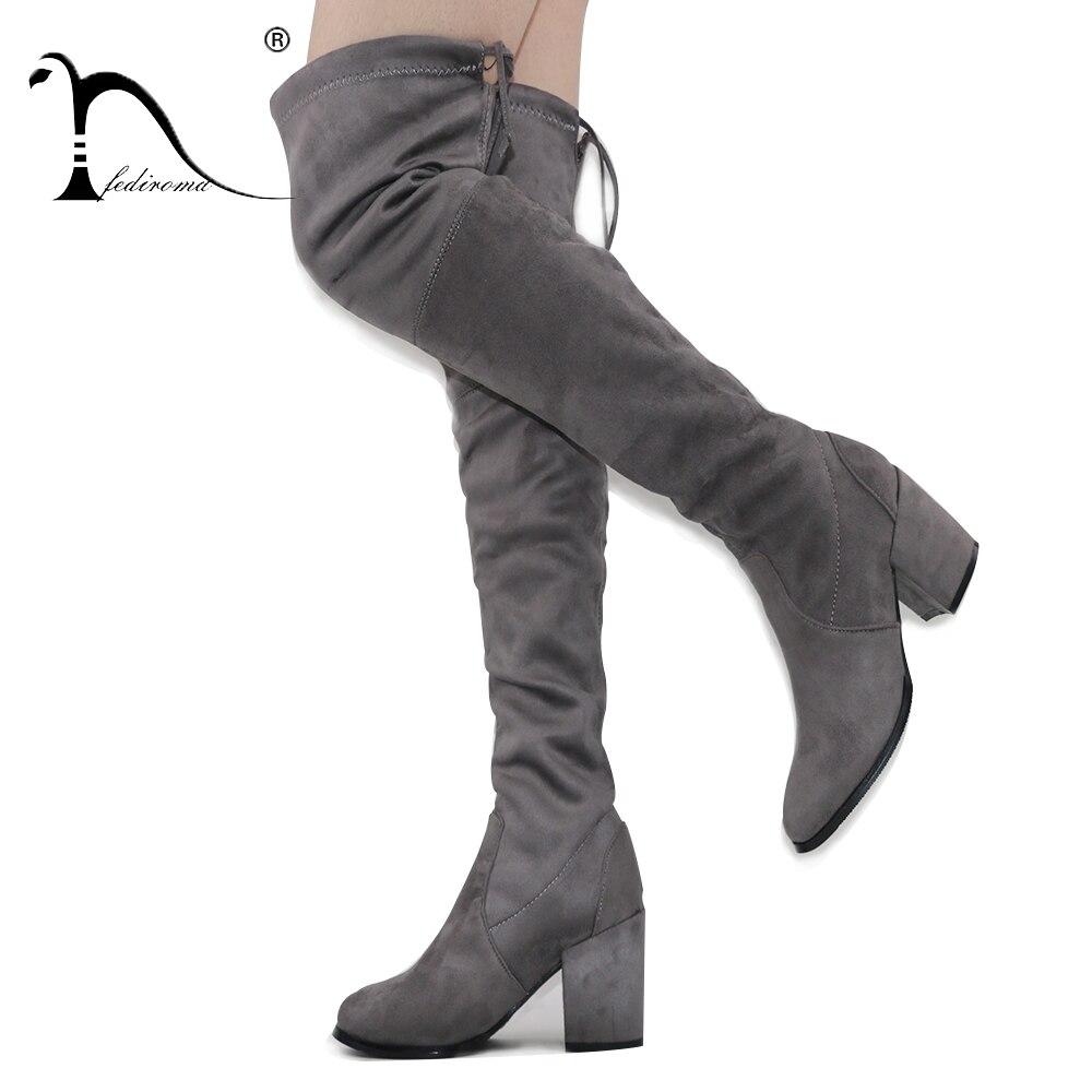 FEDIROMA Új érkezés a térdcsizmák felett Nő Suede 8.5CM magas - Női cipő