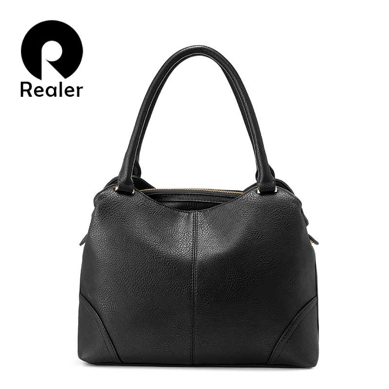 923c138151e5 REALER женские сумки, сумка женская большая на плечо, сумка с короткими  ручками, женская