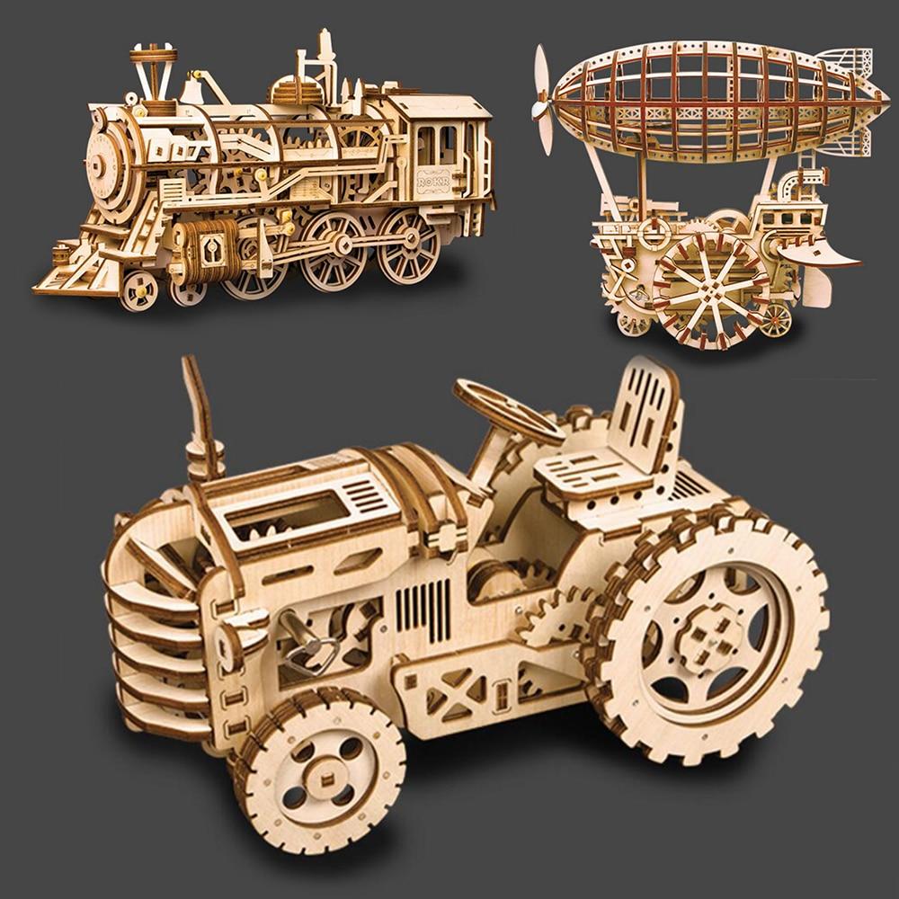 3 sortes de jouets en bois 3D Puzzle jouets éducatifs de travaux manuels découpe Laser modèle mécanique Puzzles pour enfants en bois Puzzle jeu enfant cadeau