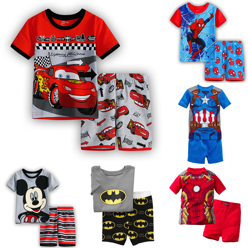 Children's Pajamas Summer Short-sleeved tshirt + shorts sports set Kids Pyjamas Boys Girls Pajamas Baby Sleepers Sleepwear 2-7T(China)