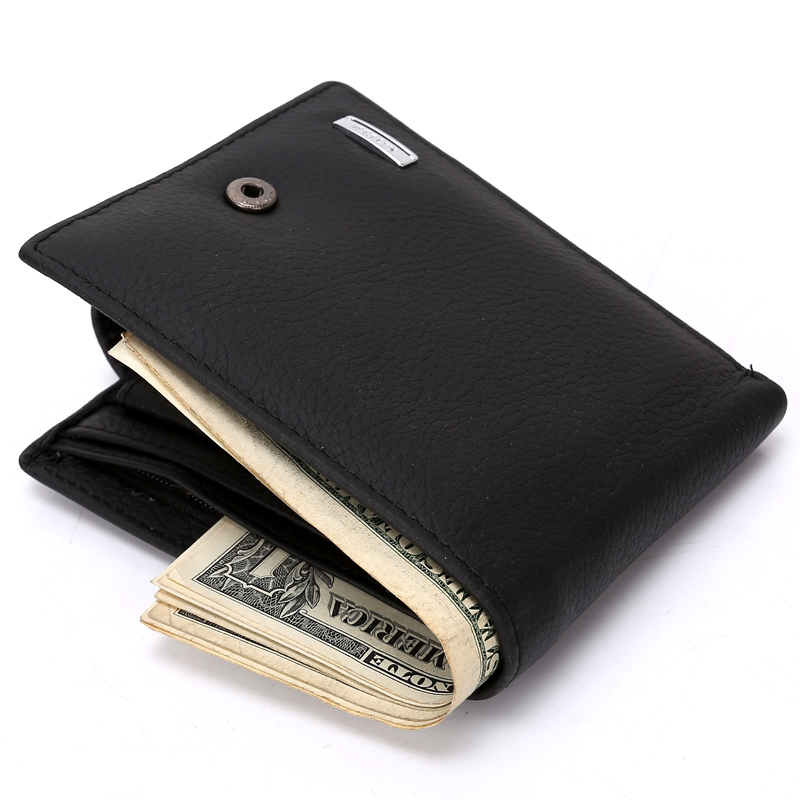 Fashion New Men's Hasp Wallets Genuine Leather Black Coffee 2 Colors Hasp Soft ID Credit Card Holder Coin Change Purse Wallet