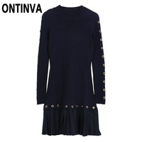 Spring Sequined Patchwork Pleated Sweater Dress for Women Winter Long Sleeve Crew Neck Slim Knitted Veatidos Robes 2019 Dresses
