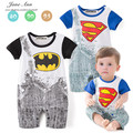 Baby rompers superhero baby kids jumpsuits superman batman boy rompers short sleeve baby summer fashion clothes 2016 hot