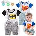 Mamelucos del bebé bebé mono de los niños superman batman superhéroe boy mamelucos de manga corta bebé ropa de moda de verano 2016 caliente