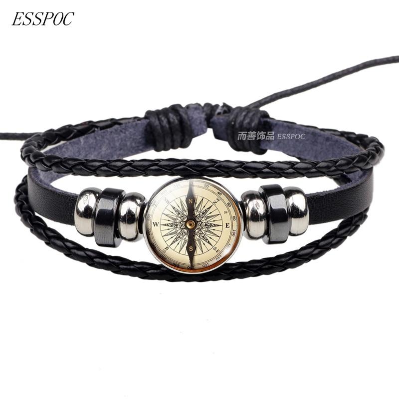 Steampunk Compass Photo Glass Cabochon Bracelet Vintage Braided Leather Bracelet Travel Lover Gift