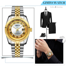 Famous Brand GIMTO Roman Gold Luxury Watch Men Business Full Steel Date Analog Quartz Wristwatches Reloj Hombre Christmas Gift