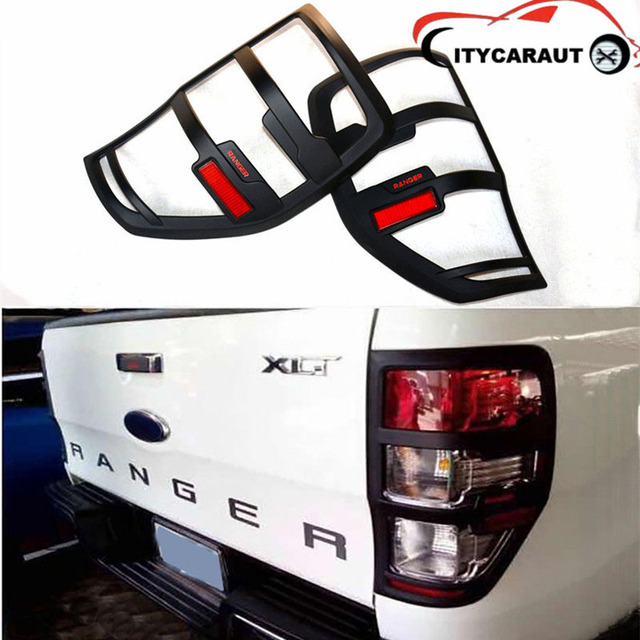 CITYCARAUTO For Ranger Accessories ABS Matte Black Tail Light Covers Trim  For T6 T7 2012