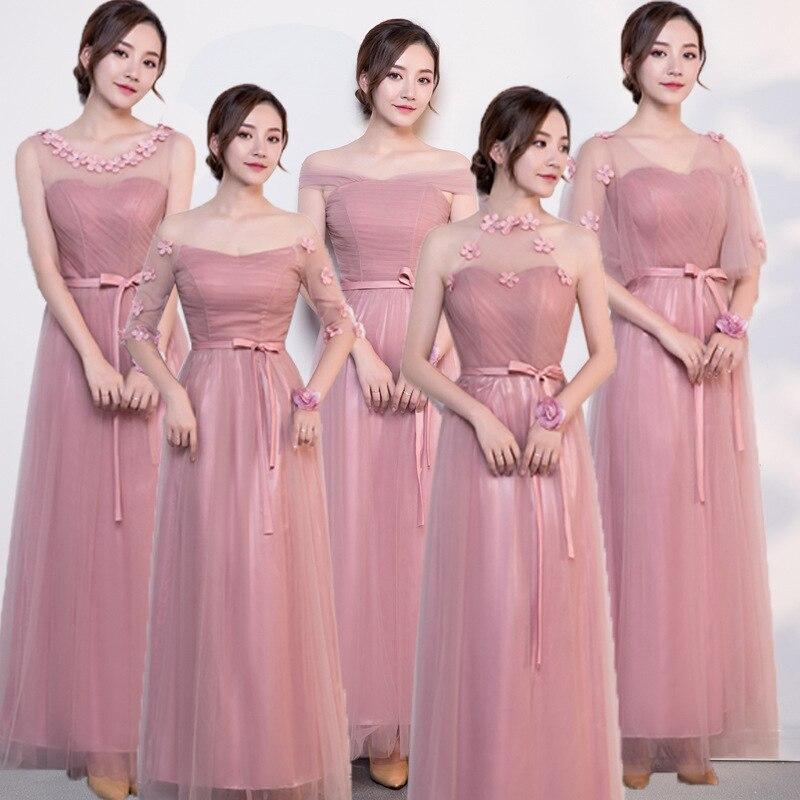 Robe de soirée femme rose robe de soirée Slim en mousseline de soie robes de mariée Sexy pleine longueur solide fleur plage Cheongsam robes