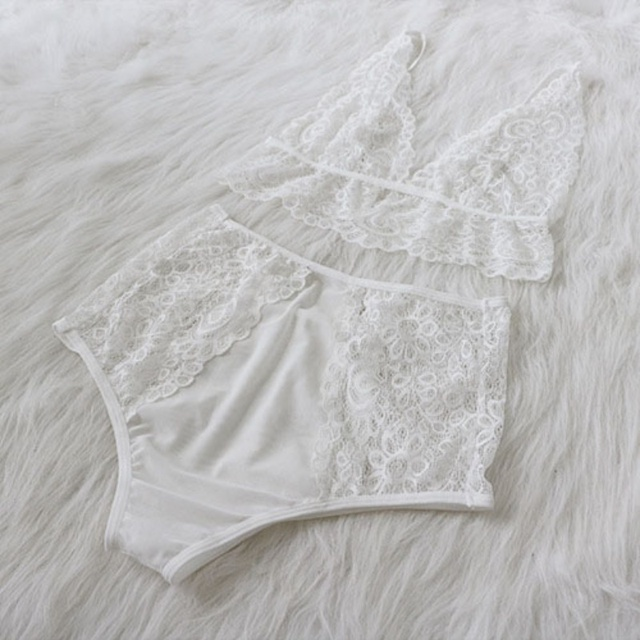 Women See-through Intimate Lingerie Bralette  Panty Lace Set  2