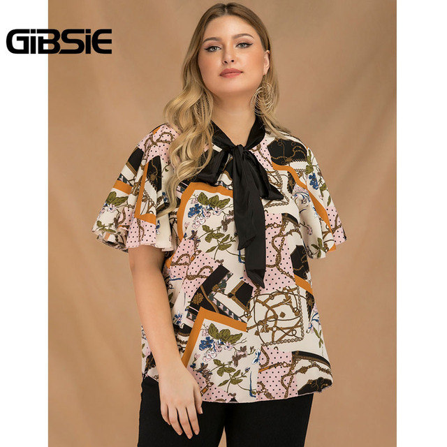 GIBSIE Plus Size Elegant Bow Tie Neck Butterfly Sleeve Blouse Women 2019 Summer Office Lady Casual Mixed Print Shirt Top Female 1