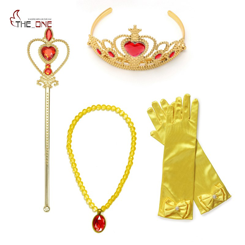 MUABABY 2-8 Years Old Girls Elsa Sofia Belle Dress up Accessories Magic Wand Tiara Crown Necklace and Gloves 4 Piece Sets