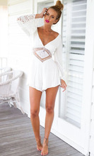 Sexy Backless Cotton Summer Playsuit  Long Sleeve Lace Collar Elegant Jumpsuit Deep V-neck Romper