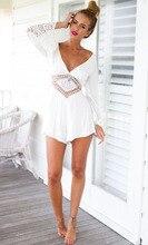 Sexy Backless Cotton Summer Playsuit  Long Sleeve Lace Collar Elegant Jumpsuit Deep V-neck Romper black sexy v neck lace details playsuit
