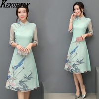 KEKURILY women silk vintage Chinese style party dress noel robe pull femme hiver vestido of the big sizes elegant noble clothes