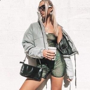 Image 2 - אופנה חורף רעיוני למטה מעילי נשים רסיס קצר מעיל נשי גולף מרופד מעיל לילה מבריק המשאף מעיל