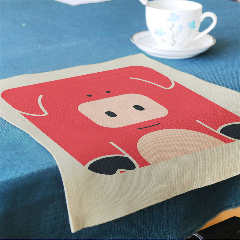 European Cartoon cute small animal pattern cotton linen Printing Mat Home hotel restaurant decoration tableware Table mat32*45cm