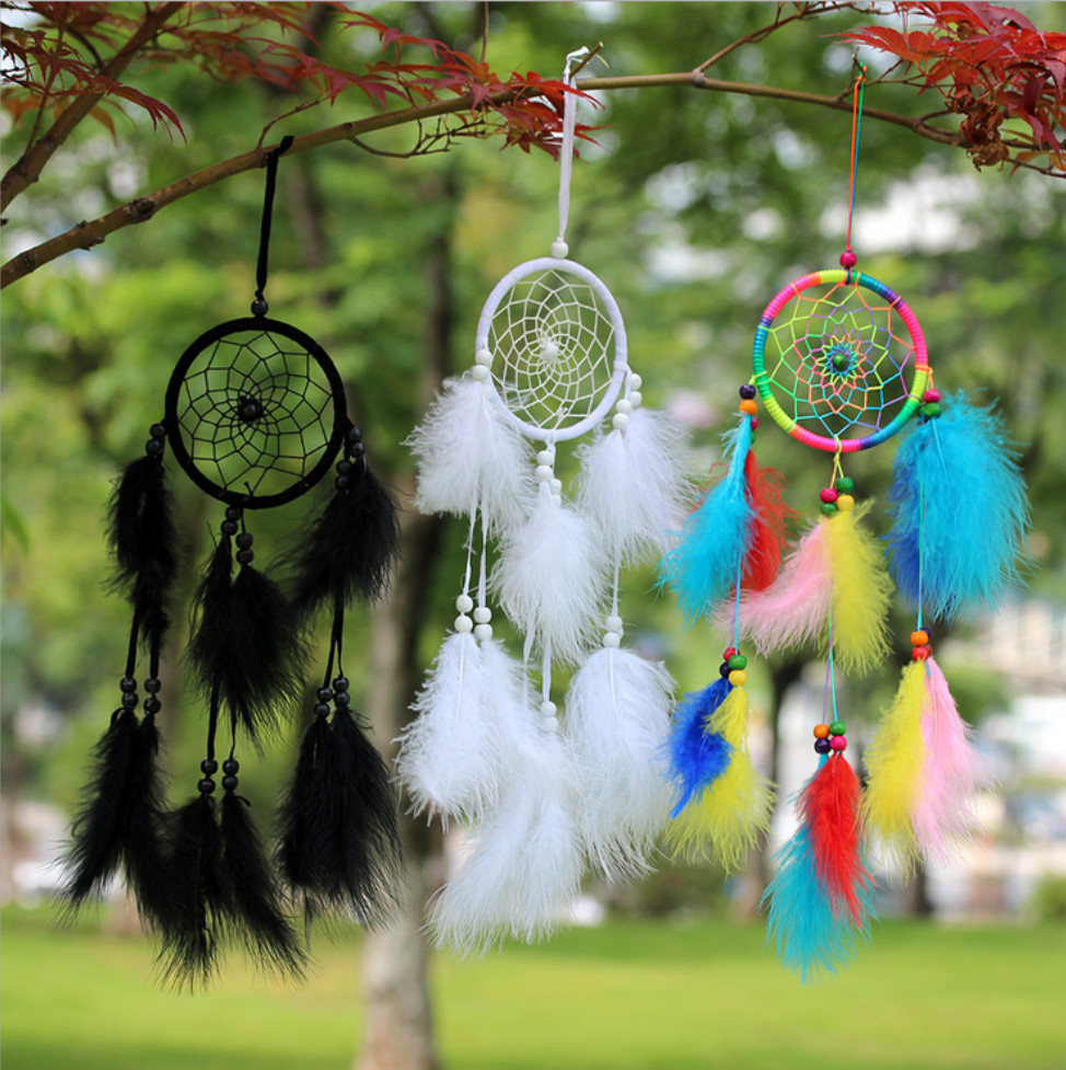 Home Room Decor Handmade Pastoral Style Dreamcatcher Net With Feathers Wall Hanging Decoration Ornament Dream Catcher