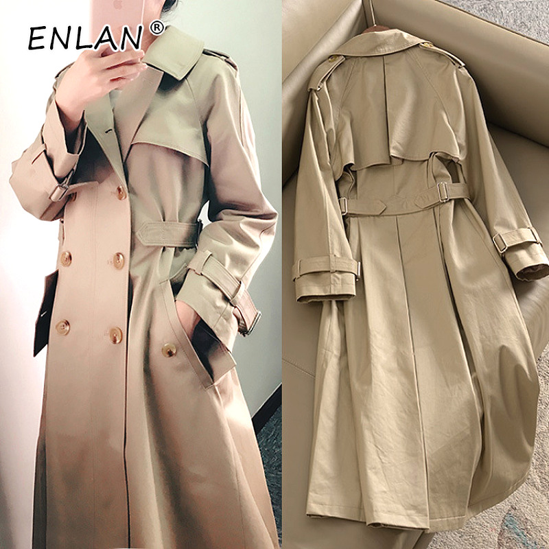 Khaki Trench Coat Female Long Korean 2019 Spring Autumn Tunic Slim Fit Double Breasted Coat Women