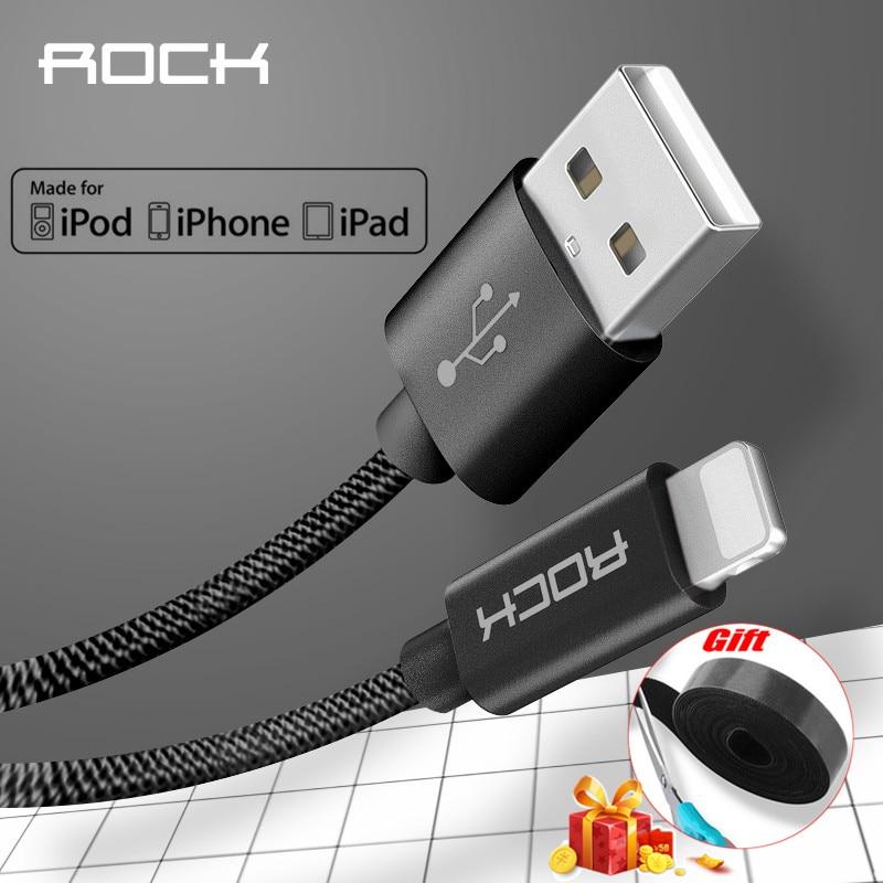Cable Lightning a USB certificado MFI Metal ROCK para iPhone 5 SE 6 6 s 7 plus iPad Nylon trenzado fibra carga rápida iPhone Cable