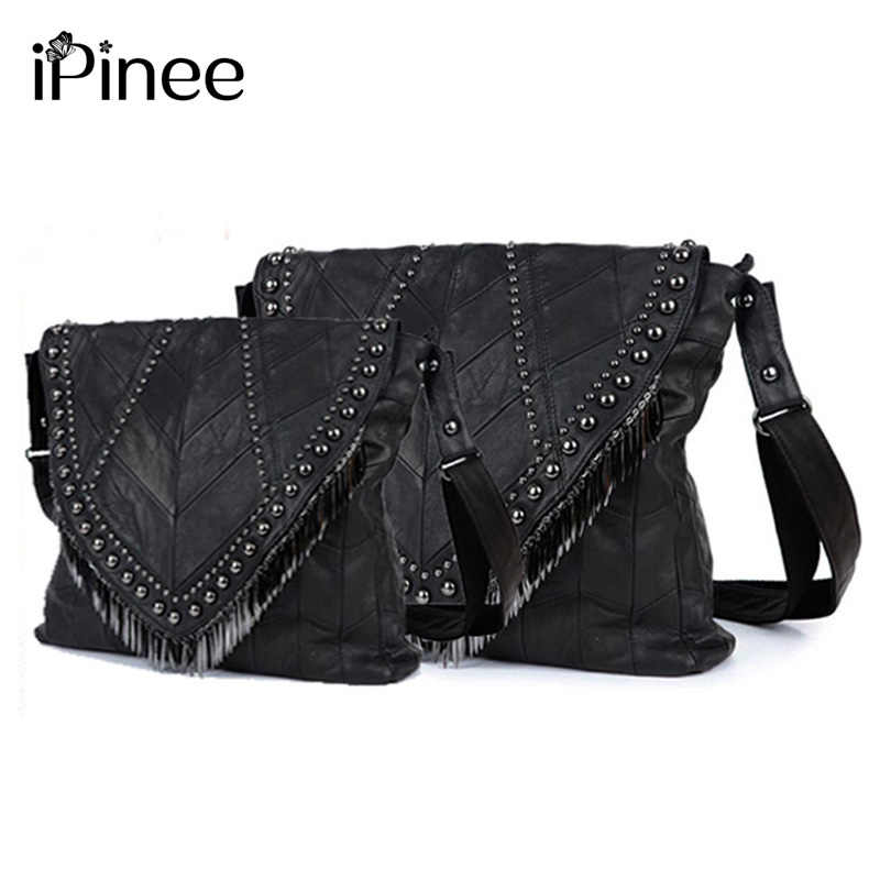 067e40a11823 iPinee All-match Genuine Leather Women Handbags Designer Tassel Female  Shoulder Bags Rivet Bag
