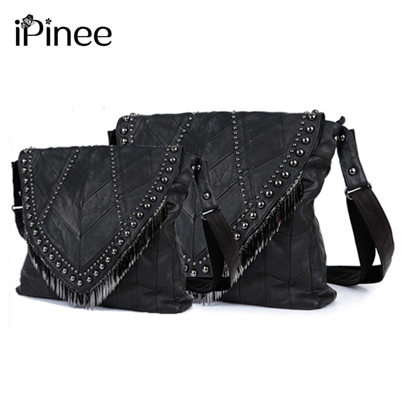iPinee All-match Genuine Leather Women Handbags Designer Tassel Female Shoulder Bags Rivet Bag all match genuine leather women handbags designer tassel female shoulder bags rivet bag woman crossbody bag studs ladies