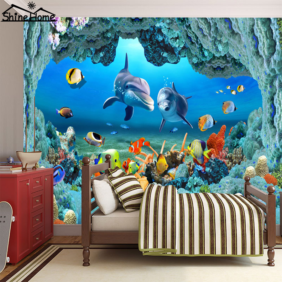 Keren baru bawah ikan dunia 3d wallpaper untuk dinding 3 d lantai