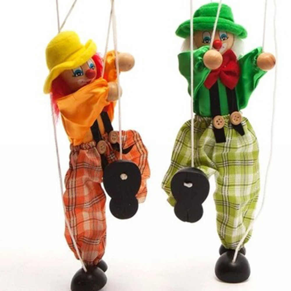 Funny Puppets Marionette Toy Pull String Puppet Clown Wooden Joint Activity Doll Vintage Child Toy gifts Baby Traditions Classic