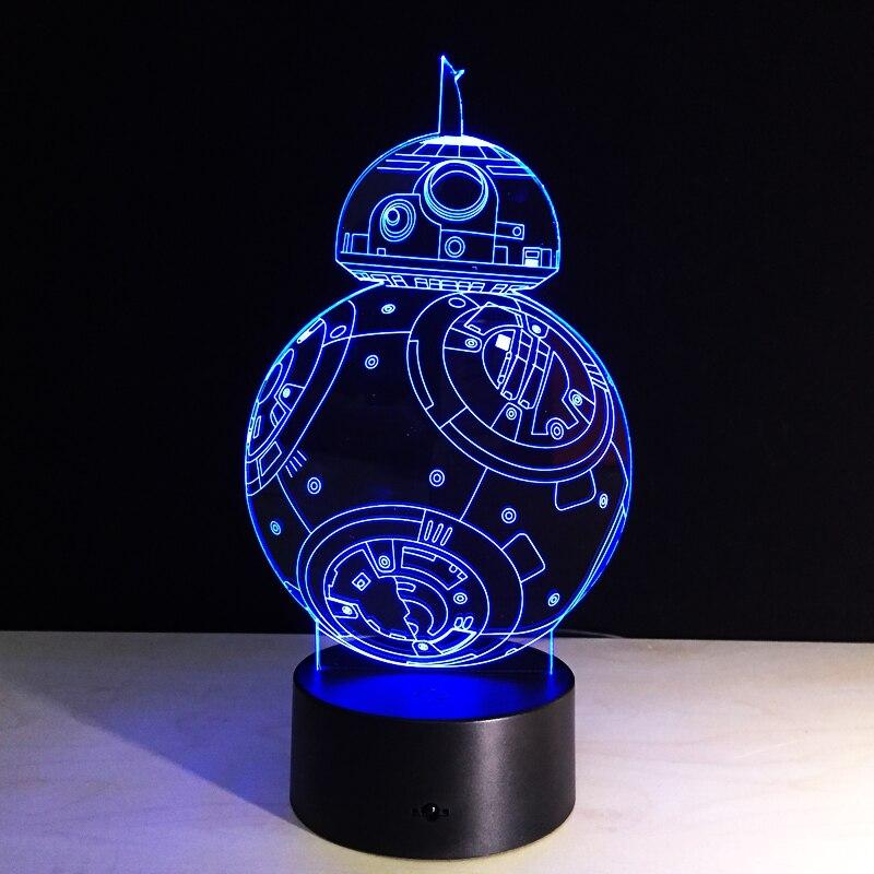 Star Wars 3D Creative BB8 Light Lampada USB LED Lighting 7 Colors Bedroom Lamp Decor Nightlight for Kids Christmas Gift